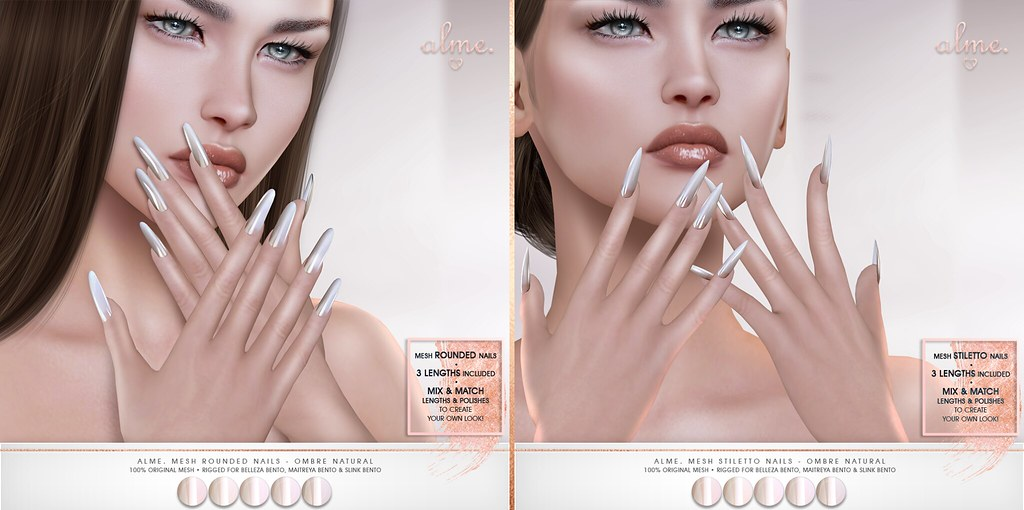 "Alme. for Belle. Events ""Alme Mesh Rounded & Stiletto nails//Ombre Natural"" ♥"