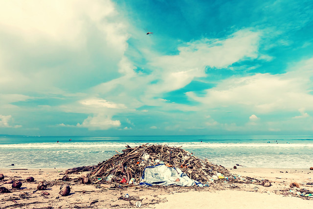 Garbage on the Kuta beach, Bali