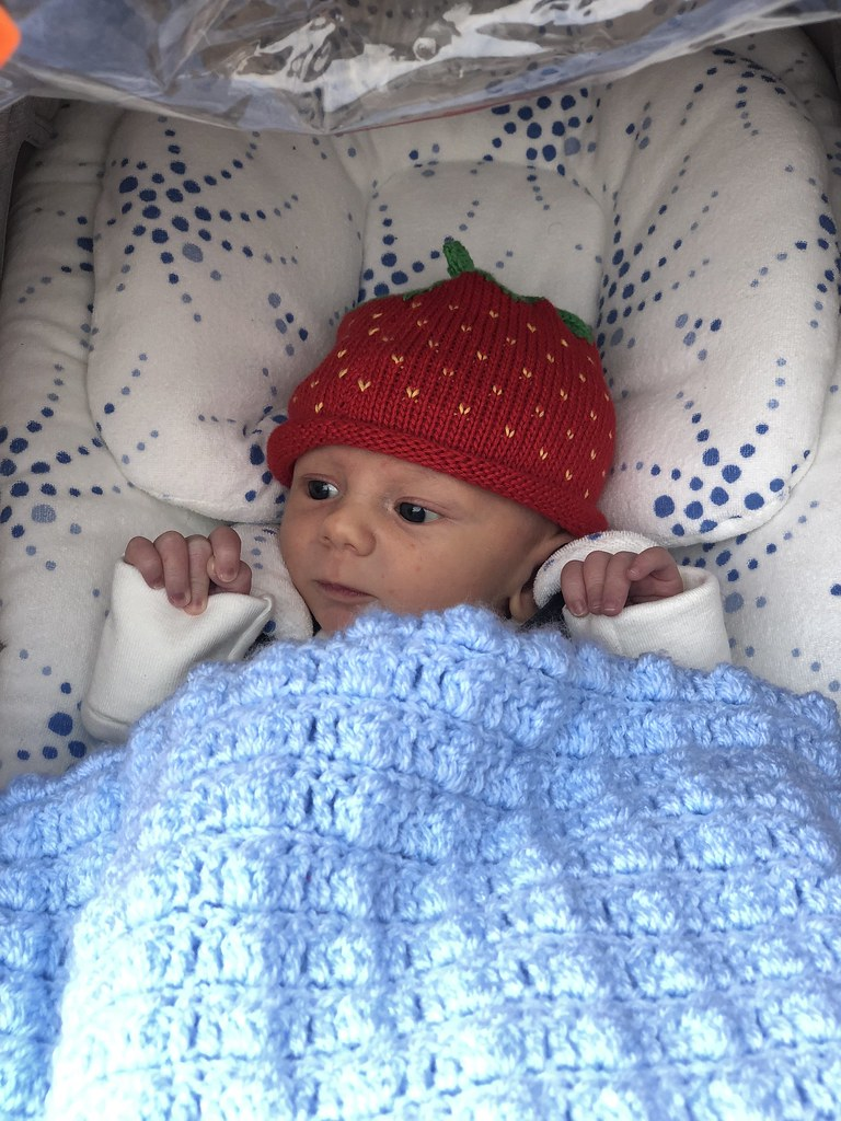 baby x strawberry hat