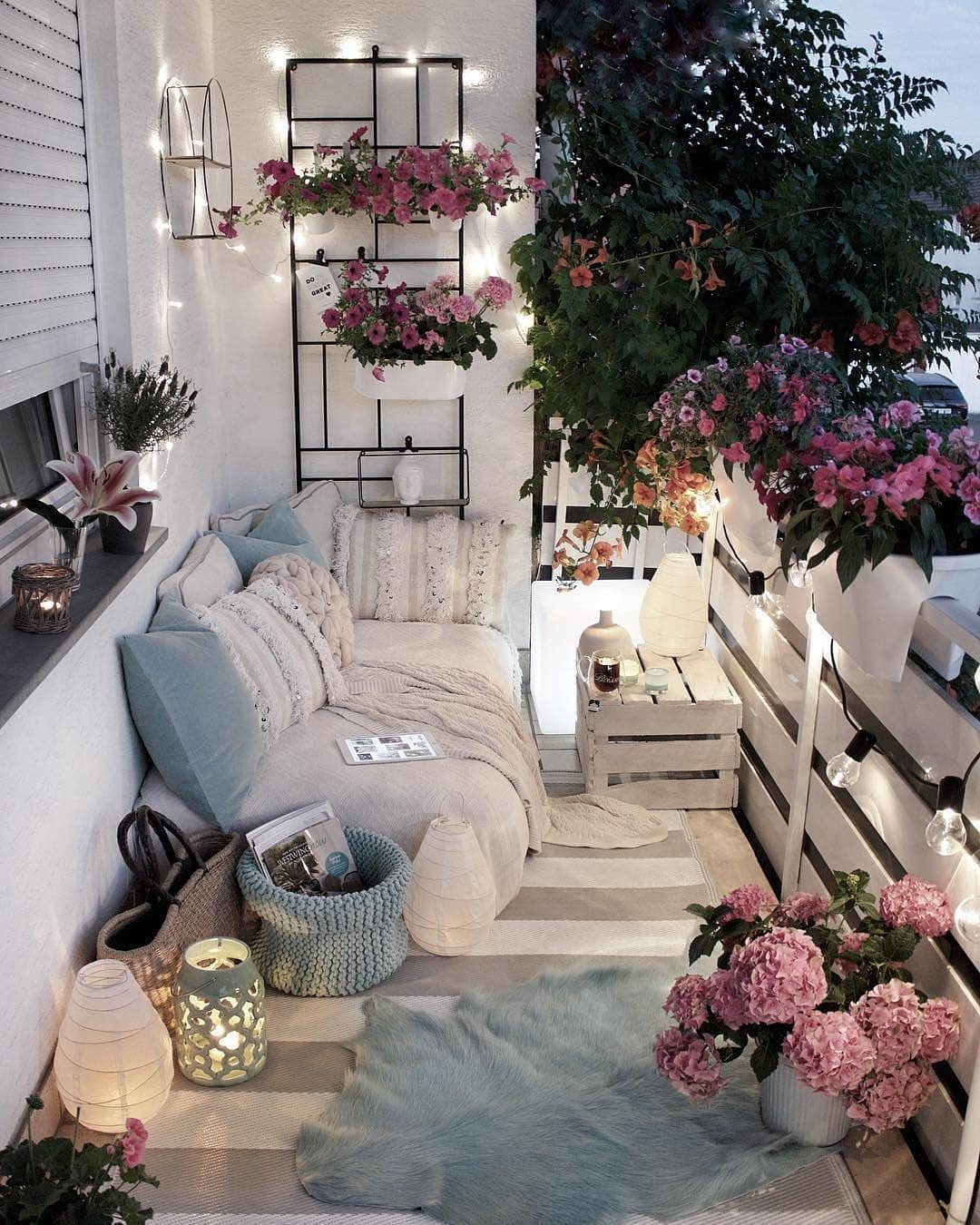 The Best Decorated Small Outdoor Balconies on Pinterest | Small Patio Decor Ideas | Boho Apartment Patio Inspiration | Outdoor Furniture Inspiration | Cozy Neutral Outdoor Decor