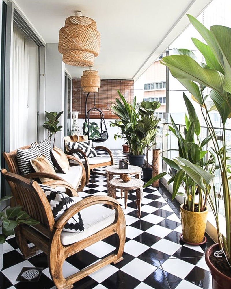 Modern Neutral Patio Ideas | Rattan Lantern Lights Black White Tile Floor | The Best Decorated Small Outdoor Balconies on Pinterest | Small Patio Decor Ideas | Boho Apartment Patio Inspiration | Outdoor Furniture Inspiration