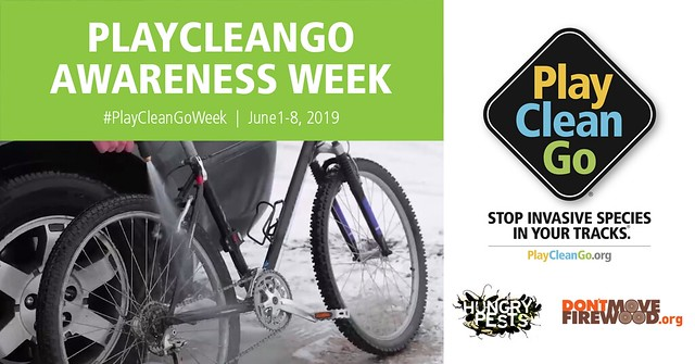 A bike with the PlayCleanGo Awareness Week header