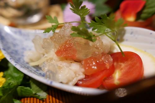 鱧の湯引きトマトジュレかけ 前菜 ・季節の前菜盛り合わせ すき焼き 飯田 14