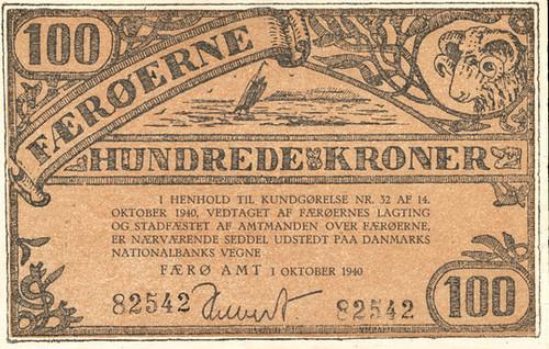 1940 Faeroe Islands 100 Kroner