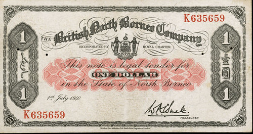 1940 British North Borneo One Dollar