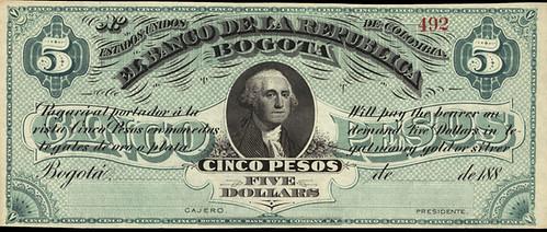 Columbia Five Pesos Five Dollars