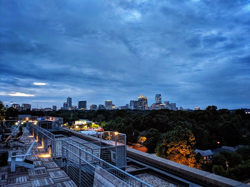 atlanta georgia sunset blue building roof spring trees skyline cityscape city ga colors
