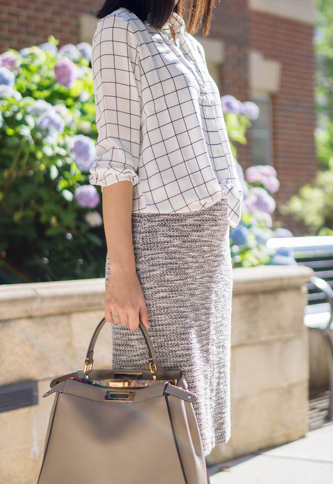 J.Crew Factory printed windowpane blouse, Ann Taylor knit pencil skirt, Fendi peekaboo bag