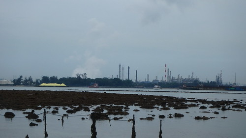 Barge with piles of yellow stuff (sulphur?)