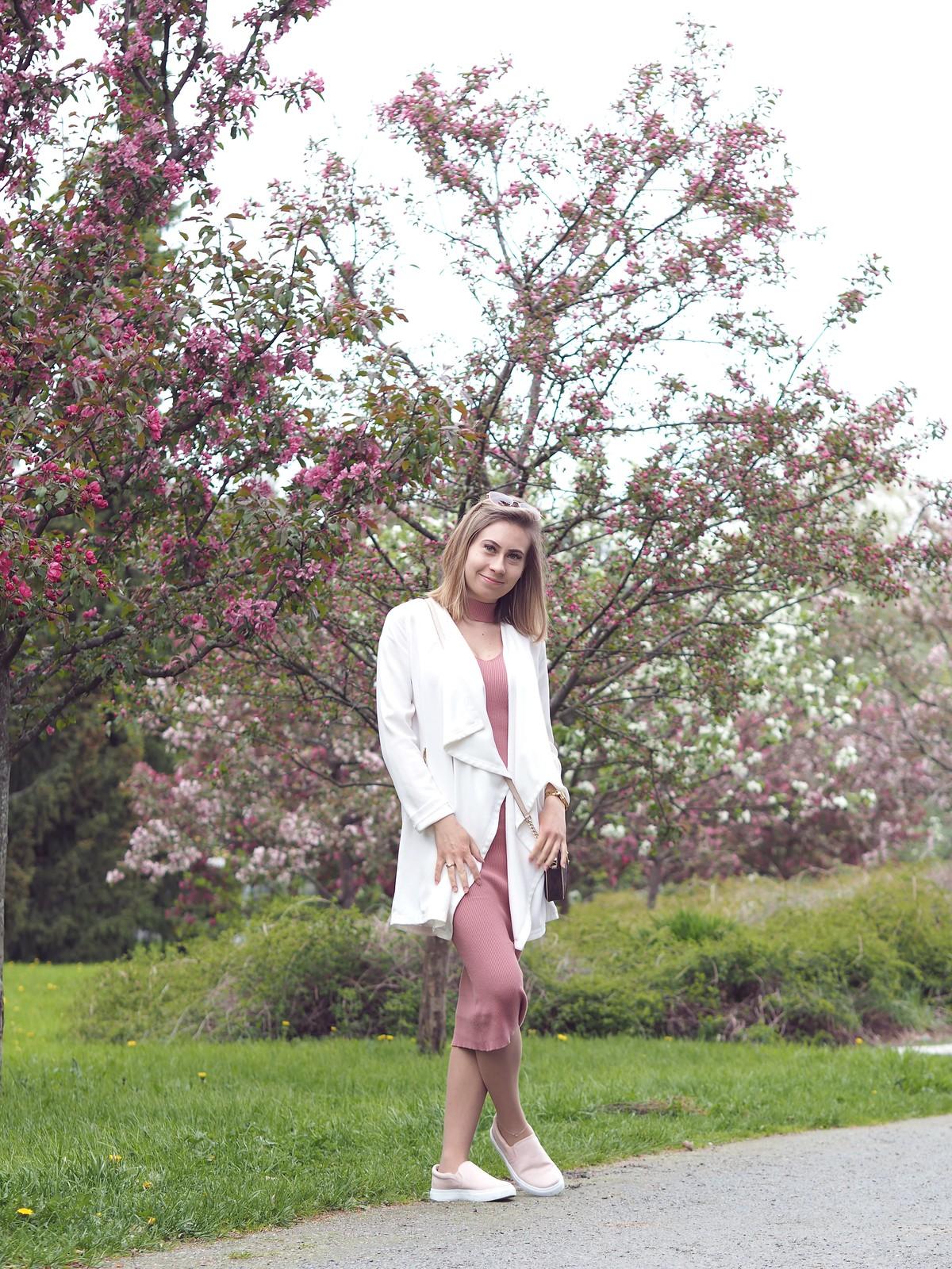 nude pink midi dress