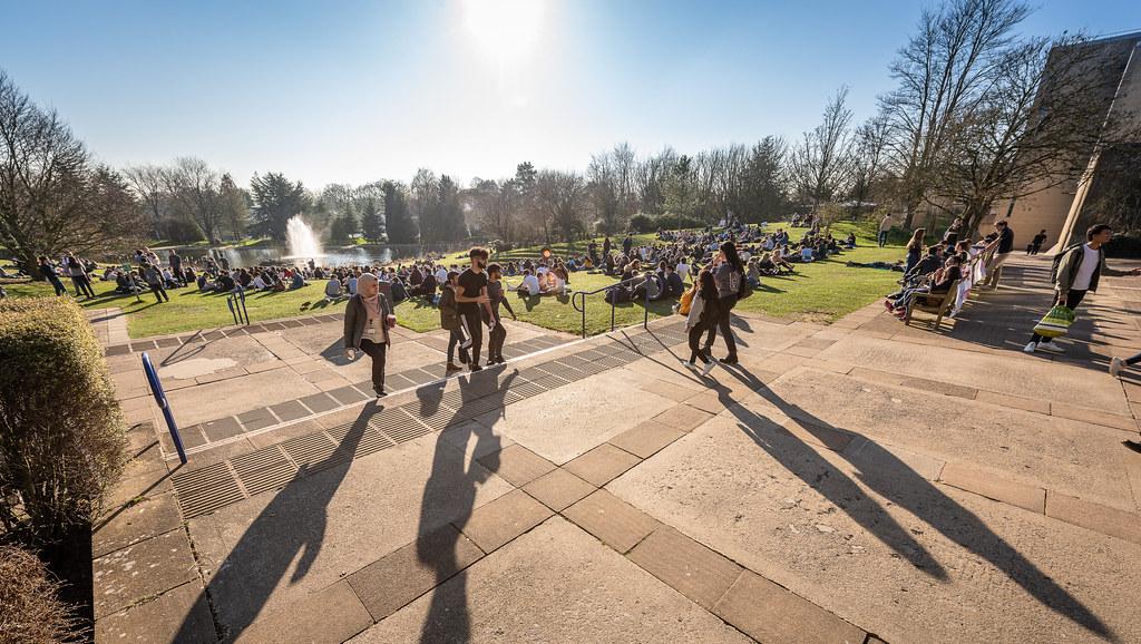 学生们在校园湖边散步.
