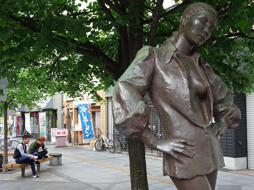 Street Scene with Public Sculpture - Heiwa Street - Asahikawa - Hokkaido - Japan