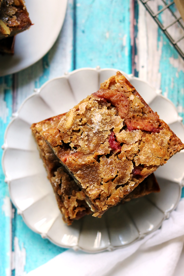 Rhubarb, White Chocolate, and Almond Blondies