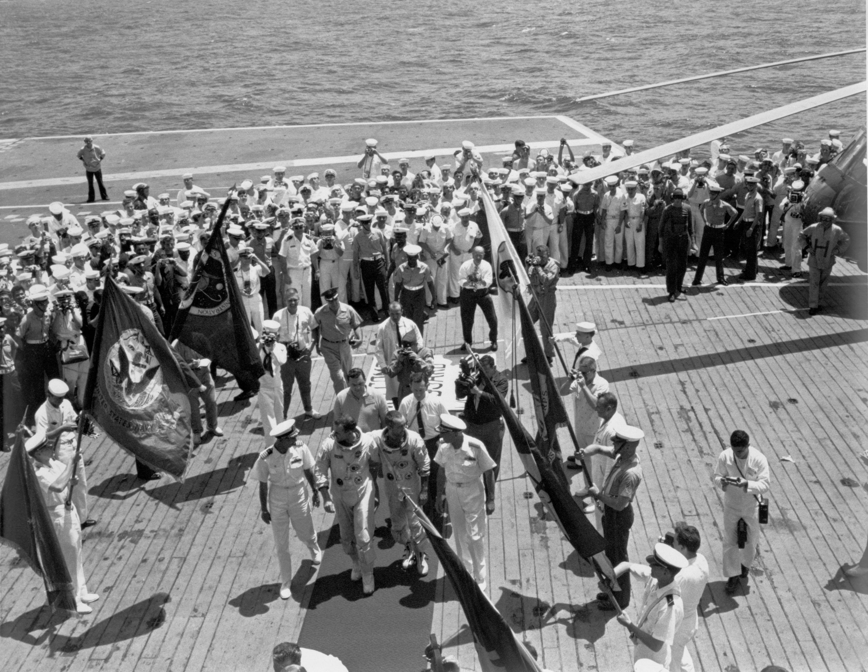 Gemini IV Crew Arrives on the USS Wasp