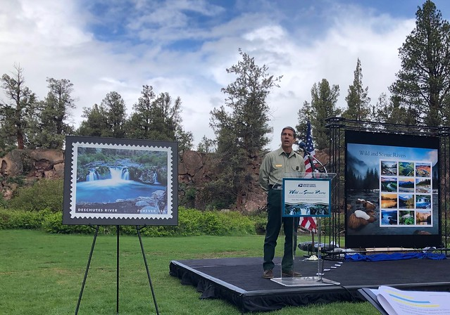 Pacific Northwest Regional Forester Glenn Casamassa speaking at the announcement event for the Wild and Scenic River stamp series