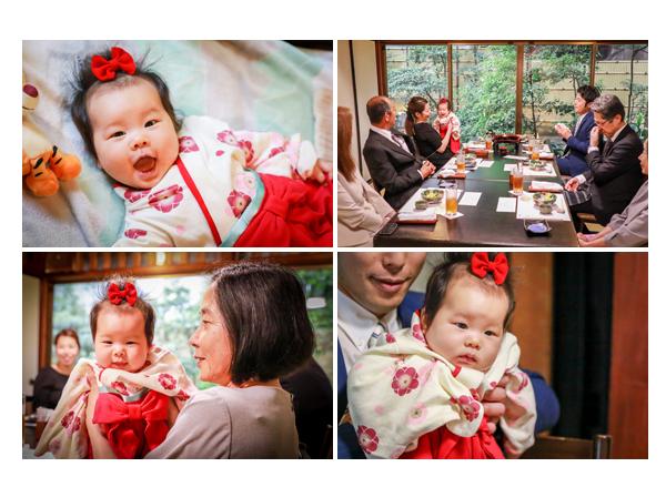お食い初め 100日祝い 3か月の女の子の服装 袴ロンパース ヘアスタイル 頭には赤いリボン