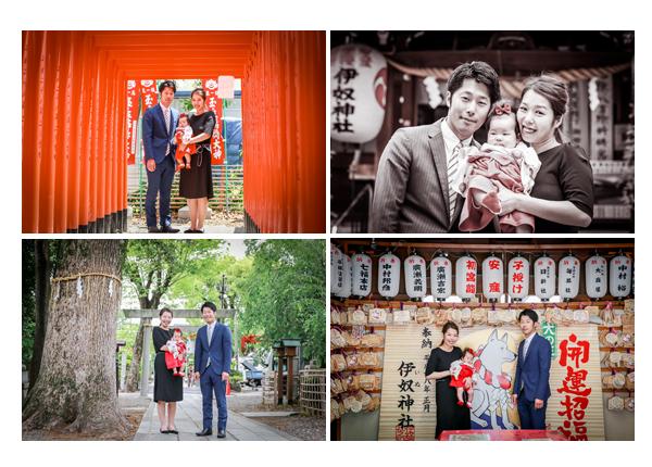 初宮参り 伊奴神社 名古屋市西区 家族写真