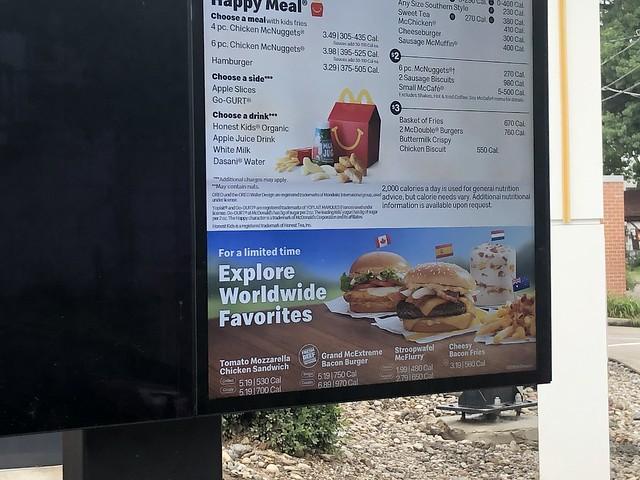 McDonald's worldwide menu