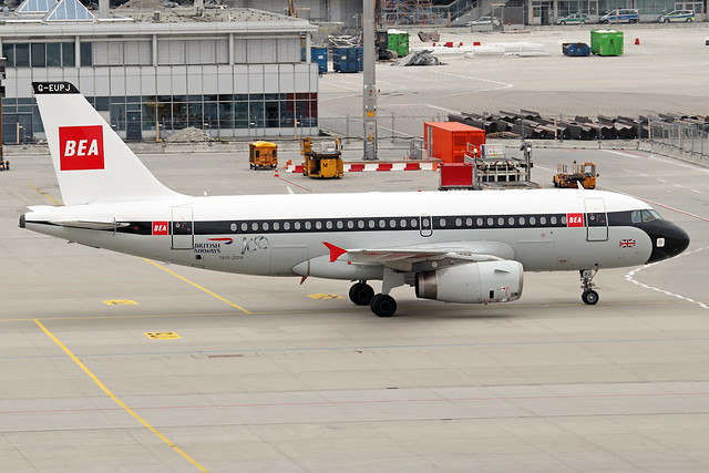 G-EUPJ  -  Airbus A319-131  -  British Airways (Retro BEA livery)  -   MUC/EDDM 6-6-19