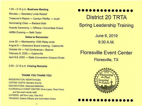 District 20 TRTA Spring Leadership Training