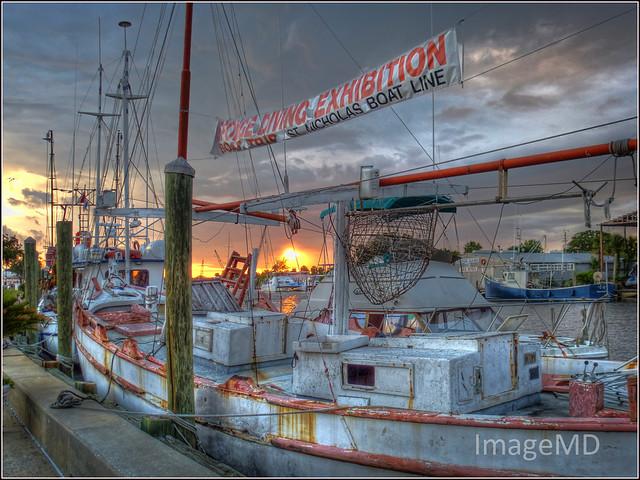 Sunset Sponge Boat