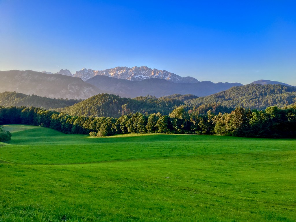 Morning view of Kaiser mountains from Breitenau near Kiefersfelden, Bavaria, Germany