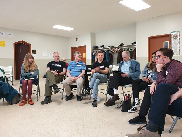 The what happened to blogging session with some of the participants sitting in a circle in a Charlottetown community center