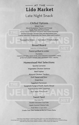 Holland America Nieuw Amsterdam - Lido Market Buffet: Late Night Snack Menu May 28, 2019 | by TheJellyBeans.net