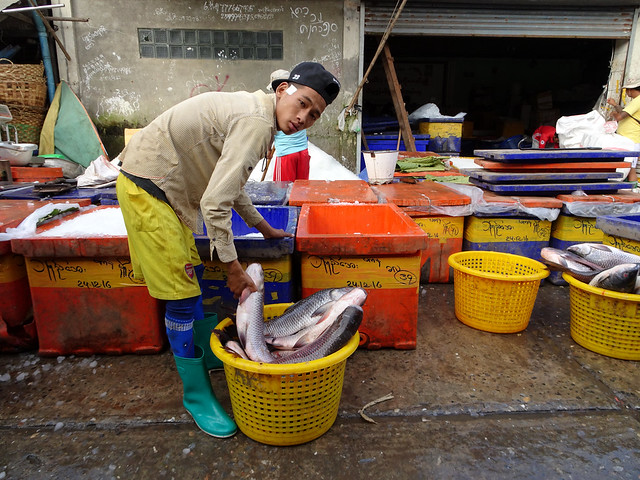 Fish section of the Flower Market in Mandalay, Myanmar