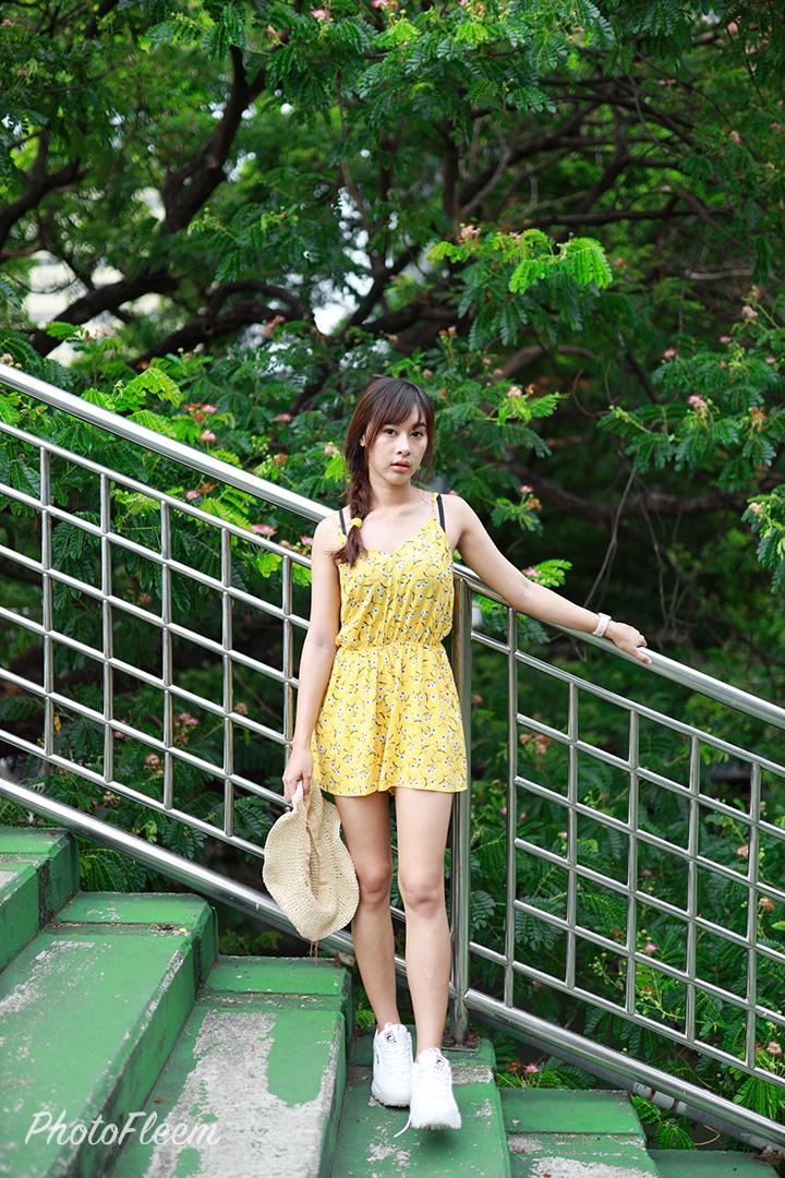 โทนสีเขียวสดใส แต่งด้วย Meitu