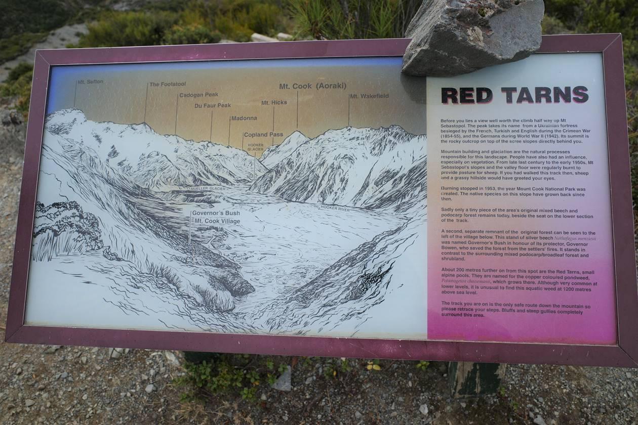 マウントクック・レッドターントラック山頂の標識