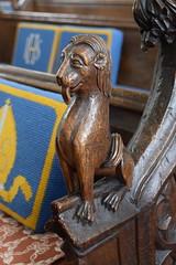 bench end: lion (15th Century, restored 19th Century)