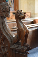 bench end: dog (15th Century, restored 19th Century)