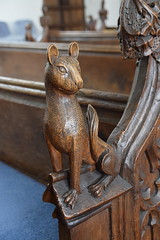 bench end: cat? lioness? (19th Century)