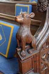 bench end: dog (19th Century)