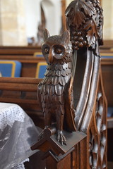 bench end: owl (19th Century)