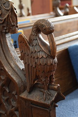 bench end: pelican (15th Century, restored 19th Century)
