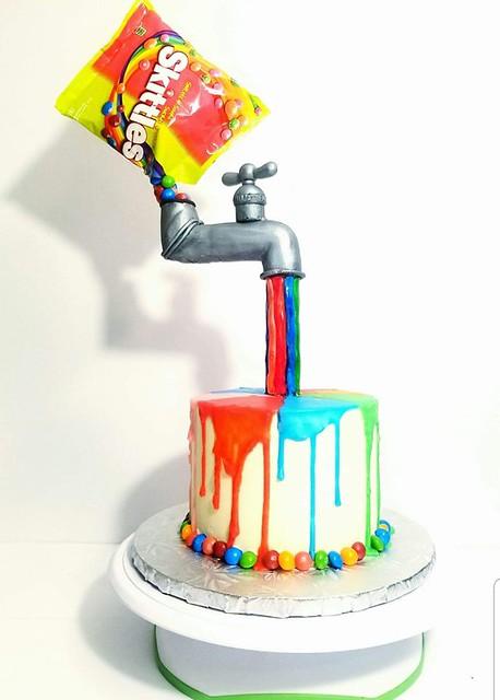 Anti Gravity Skittles Cake by Montana Rae