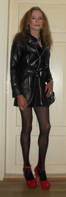 #smile #posing #feelingpretty #leather #leatherjacket #dress #leatherdress #bikerjacket #nylons #bodystocking #highheels #redheels #tgirl #transvestite #transisbeatuiful #realscandinavianblonde #blondeshavemorefun