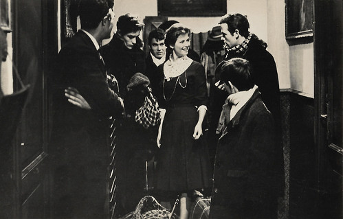 Claudia Cardinale, Alain Delon, Max Cartier and Renato Salvatori in Rocco e i suoi fratelli (1960)