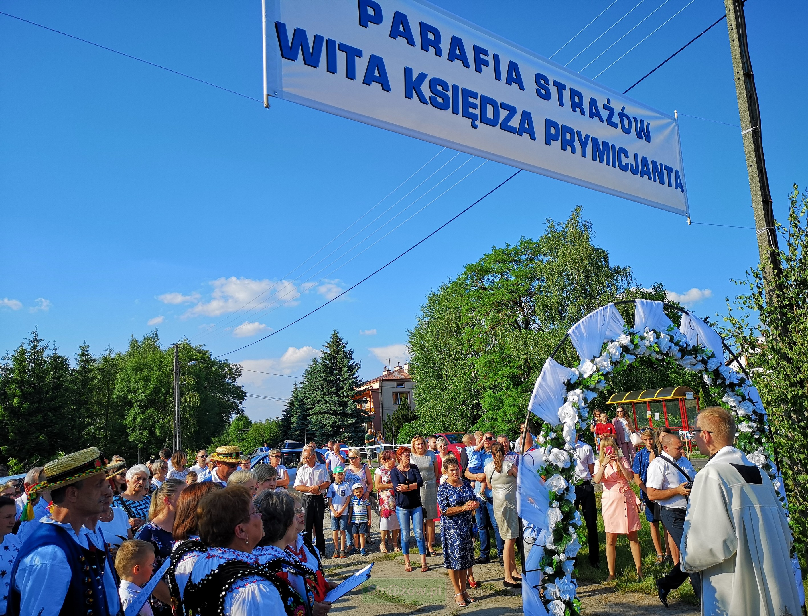 Powitanie ks. prymicjanta w parafii Strażów