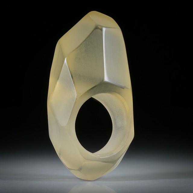 Edelsteinring Citrin (Brasilit), handgeschliffener Ring