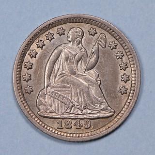 1849 V-2 Half Dime obverse