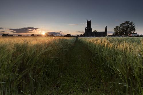 sunset kildare ireland silhouette church