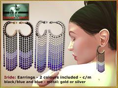 Bliensen - Iride - earrings - blackblue & blue