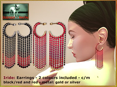 Bliensen - Iride - earrings - blackred & red