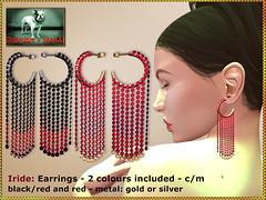 Bliensen - Iride - earrings - blackred & red