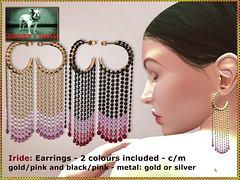 Bliensen - Iride - earrings - goldpink & blackpink