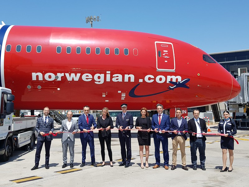 Norwegian. Vuelo inaugural Barcelona-Chicago.