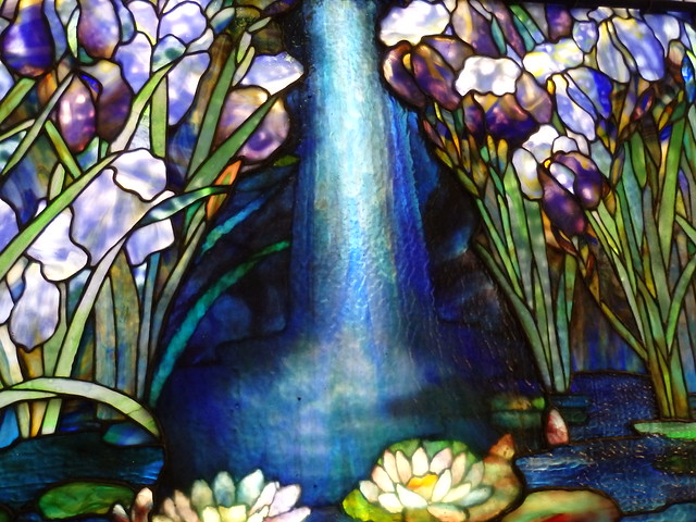 Detail, stained glass by Tiffany